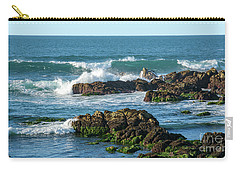 Winter Waves Hit Ancient Rocks No. 1 Carry-all Pouch
