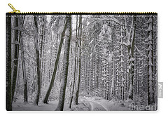 Carry-all Pouch featuring the photograph Wintry Forest Track by Edmund Nagele
