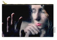 Woman Portrait Behind Glass With Rain Drops Carry-all Pouch