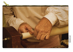 Carry-all Pouch featuring the photograph Wood Lathe Operator by Guy Whiteley