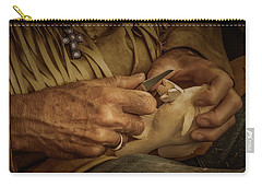 Carry-all Pouch featuring the photograph Woodcarver by Guy Whiteley