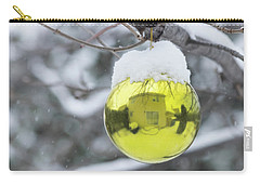 Carry-all Pouch featuring the photograph Yellow Christmas Ball Outside, Covered By Snow And House Reflect by Cristina Stefan