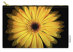 Carry-all Pouch featuring the photograph Yellow Gerbera Daisy Repetitions by Bill Swartwout Fine Art Photography