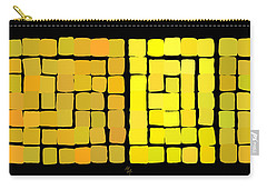 Carry-all Pouch featuring the digital art Yellow Triptych by Attila Meszlenyi