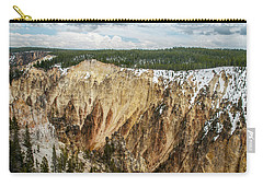 Carry-all Pouch featuring the photograph Yellowstone Canyon With Frosting by Matthew Irvin