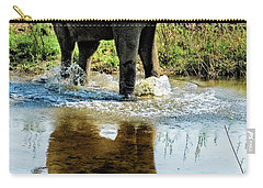 Young Elephant Playing In A Puddle Carry-all Pouch