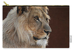 Carry-all Pouch featuring the photograph Young Male Lion Portrait by Debi Dalio