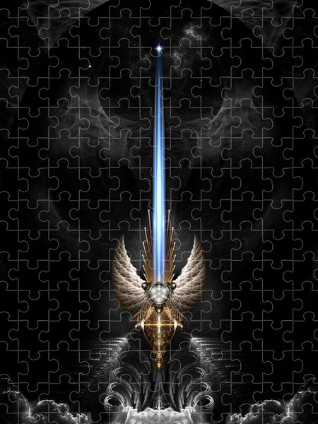Xzendor7 Custom Art Jigsaw Puzzles - Angel Wing Sword Of Arkledious DGS Fractal Art