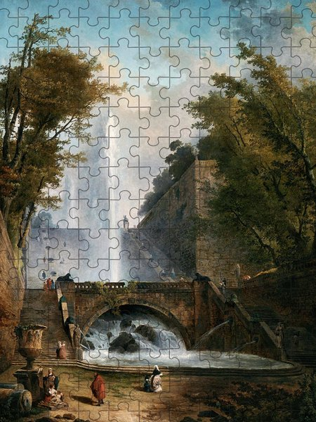 Xzendor7 Custom Art Jigsaw Puzzles - Stair and Fountain in the Park of a Roman Villa