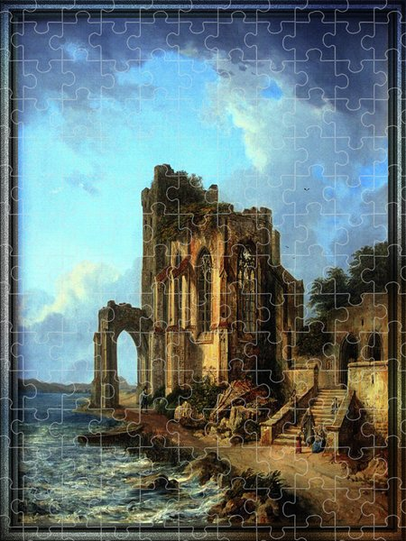 Xzendor7 Custom Art Jigsaw Puzzles - Church Ruins By The Sea by Domenico Quaglio the Younger