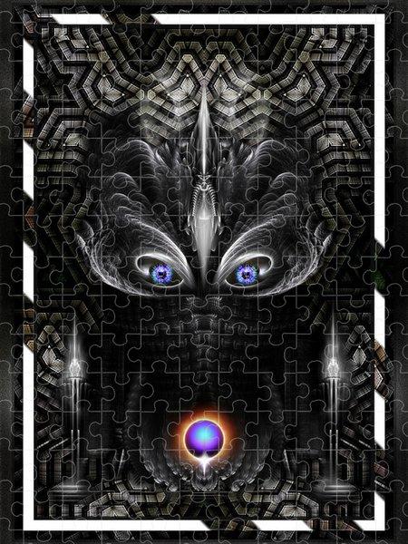 Xzendor7 Custom Art Jigsaw Puzzles - Dark Warrior Sculpture Fractal Art