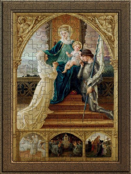 Xzendor7 Custom Art Jigsaw Puzzles - Madonna and Child Seated Between St. Genevieve and Joan Of Arc by Elisabeth Sonrel
