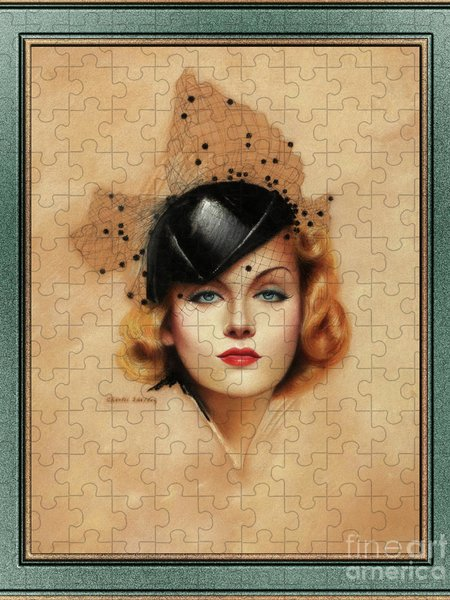 Xzendor7 Custom Art Jigsaw Puzzles - Carole Lombard Portrait by Charles Gates Sheldon Art Nouveau Old Masters Reproduction