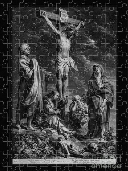 Xzendor7 Custom Art Jigsaw Puzzles - Christ on the Cross, with Mary and Johannes by Engraver Schelte Adamsz Bolswert Classical Art
