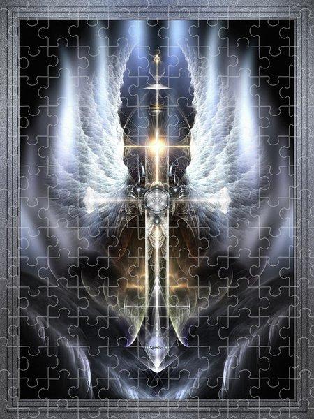 Xzendor7 Custom Art Jigsaw Puzzles - Heavenly Angel Wings Cross