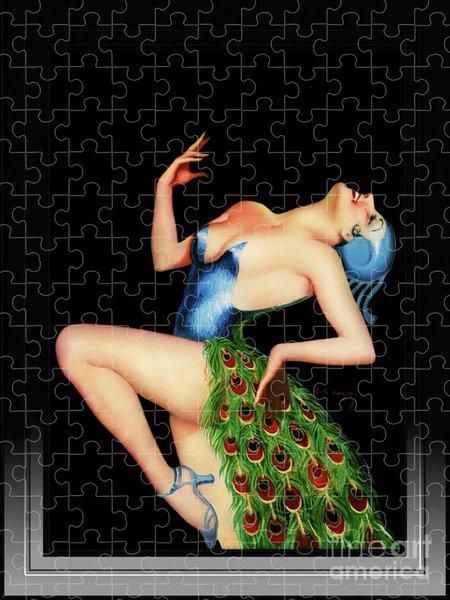 Xzendor7 Custom Art Jigsaw Puzzles - Peacock Dancer by Earle Kulp Bergey Vintage Art Reproduction