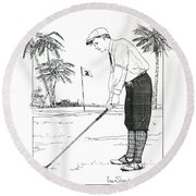 Round Beach Towel featuring the drawing  1920's Vintage Golfer by Ira Shander
