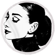 # 4 Audrey Hepburn Portrait. Round Beach Towel by Alan Armstrong