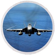 Round Beach Towel featuring the photograph  A Fa-18 Hornet Demonstrates Air Power. by Paul Fearn