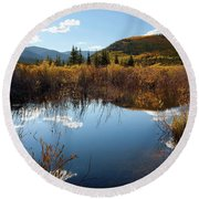 A Reflection Of Fall Round Beach Towel by Jim Garrison