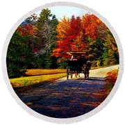 Acadia National Park Carriage Trail Fall  Round Beach Towel