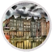 Amsterdam Water Canals Round Beach Towel by Georgi Dimitrov