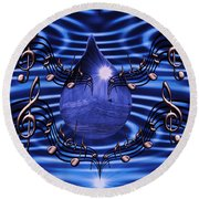 Angelic Sounds On The Waves Round Beach Towel