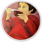 Round Beach Towel featuring the painting  Asian  Doll by Sharon Duguay