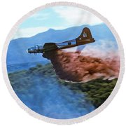B-17 Air Tanker Dropping Fire Retardant Round Beach Towel by Bill Gabbert