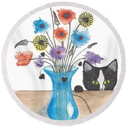 Bad Kitty Round Beach Towel