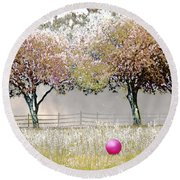 Ball Field With Rolling Roger Round Beach Towel
