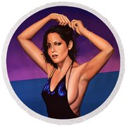 Barbara Carrera Painting Round Beach Towel by Paul Meijering