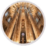 Basilica Of Santa Maria Del Mar In Barcelona Round Beach Towel