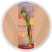 Beautiful Bird Quetzal Must Open  Round Beach Towel