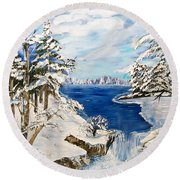 Round Beach Towel featuring the painting  Blanket Of Ice by Sharon Duguay