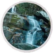 Round Beach Towel featuring the photograph  Bottom Of Laurel Falls by Patrick Shupert