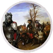 Cane Corso Art Canvas Print - Swords And Bravery Round Beach Towel