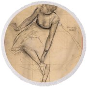 Dancer Adjusting Her Slipper Round Beach Towel by Edgar Degas