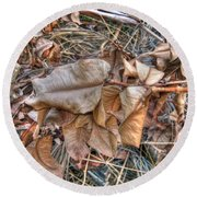 Round Beach Towel featuring the photograph  Dead Leaves by Michelle Meenawong