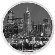 Round Beach Towel featuring the photograph  Denver Skyline At Dusk Black And White Bw Evening Extra Wide Panorama Broncos  by Jon Holiday