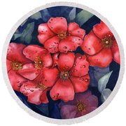 Dew Flowers Round Beach Towel
