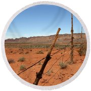 Round Beach Towel featuring the photograph  Don't Fence Me In by Tammy Espino