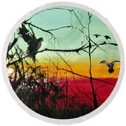 Doves At The Dawn Round Beach Towel