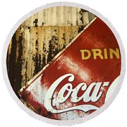 Drink Coca Cola  Memorbelia Round Beach Towel by Bob Christopher