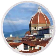 Round Beach Towel featuring the photograph  Duomo Of Florence # 3 by Allen Beatty