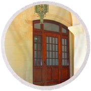 Round Beach Towel featuring the photograph  Elegant Arched Entrance by Judy Palkimas