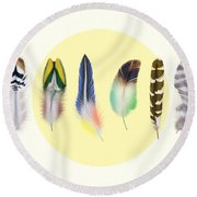 Feathers 2 Round Beach Towel