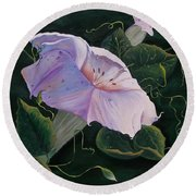 First  Trumpet Flower  Of Summer Round Beach Towel