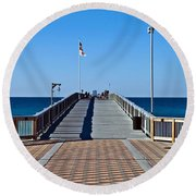 Fishing Pier Round Beach Towel