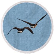 Round Beach Towel featuring the photograph  Fleeing Geese by Tom Janca